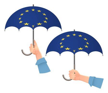 EU flag. Hand holding umbrella. Social security concept. Europe flag vector illustration Иллюстрация