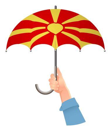 Macedonia flag. Hand holding umbrella. Social security concept. National flag of Macedonia vector illustration Stock Illustratie