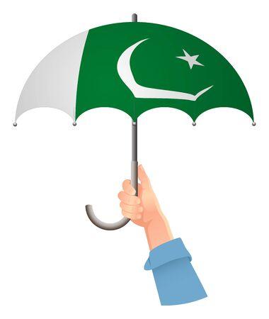 Pakistan flag. Hand holding umbrella. Social security concept. National flag of Pakistan vector illustration