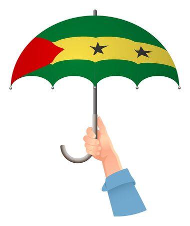 Sao Tome and Principe flag. Hand holding umbrella. Social security concept. National flag of Sao Tome and Principe vector illustration