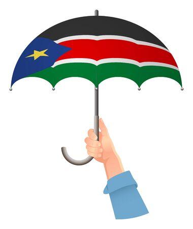 South Sudan flag. Hand holding umbrella. Social security concept. National flag of South Sudan vector illustration Vetores
