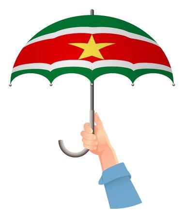 Suriname flag. Hand holding umbrella. Social security concept. National flag of Suriname vector illustration