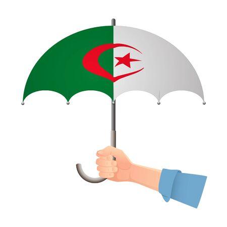 Algeria flag umbrella. Weather symbols. National flag of Algeria vector illustration