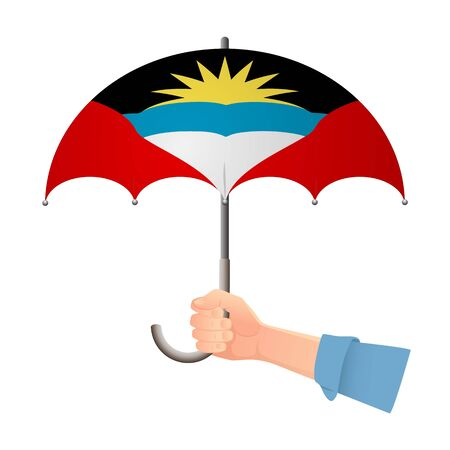 Antigua and Barbuda flag umbrella. Weather symbols. National flag of Antigua and Barbuda vector illustration
