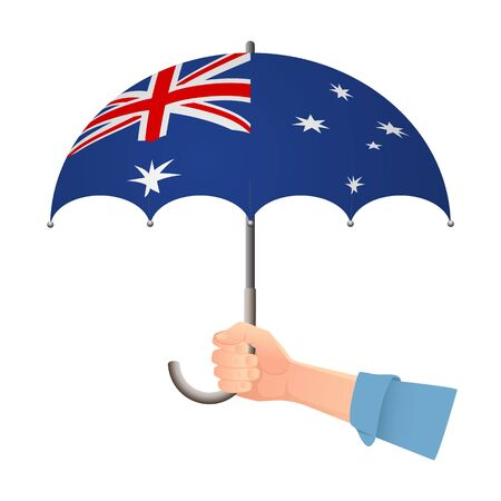 Australia flag umbrella. Weather symbols. National flag of Australia vector illustration  イラスト・ベクター素材