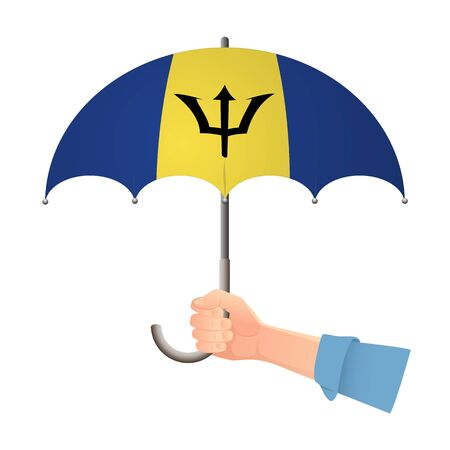 Barbados flag umbrella. Weather symbols. National flag of Barbados vector illustration