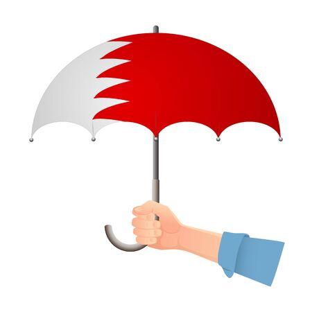 Bahrain flag umbrella. Weather symbols. National flag of Bahrain vector illustration