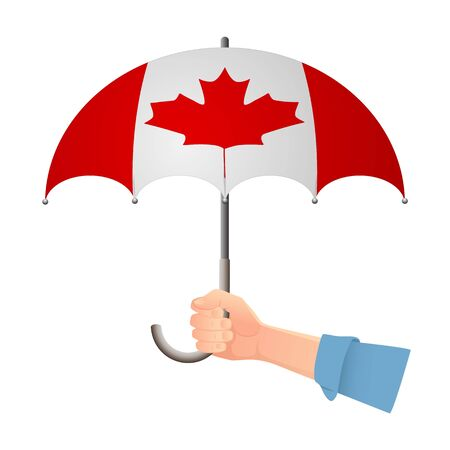 Canada flag umbrella. Weather symbols. National flag of Canada vector illustration Иллюстрация