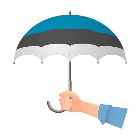 Estonia flag umbrella. Weather symbols. National flag of Estonia vector illustration