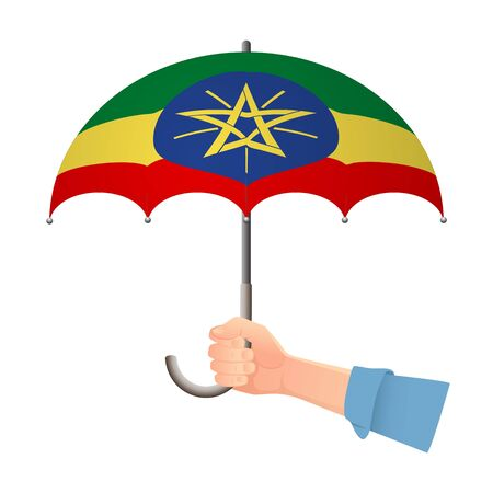 Ethiopia flag umbrella. Weather symbols. National flag of Ethiopia vector illustration