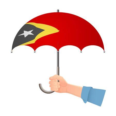 East Timor flag umbrella. Weather symbols. National flag of East Timor vector illustration Illustration