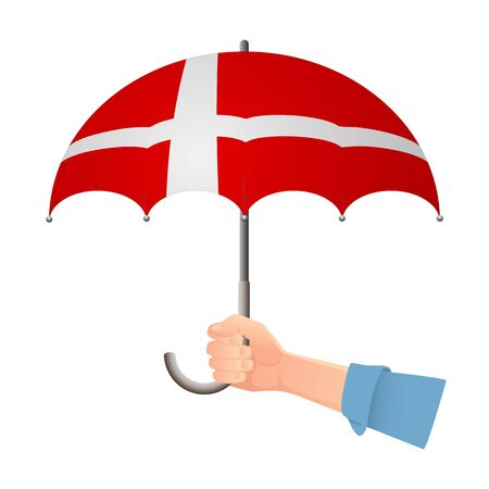 Denmark flag umbrella. Weather symbols. National flag of Denmark vector illustration Иллюстрация