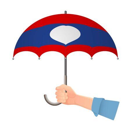 Laos flag umbrella. Weather symbols. National flag of Laos vector illustration