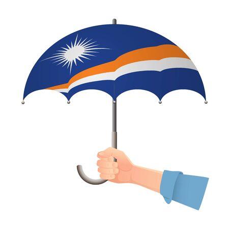 Marshall Islands flag umbrella. Weather symbols. National flag of Marshall Islands vector illustration