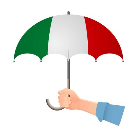 Italy flag umbrella. Weather symbols. National flag of Italy vector illustration