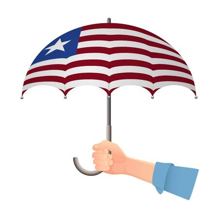 Liberia flag umbrella. Weather symbols. National flag of Liberia vector illustration