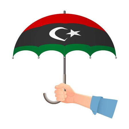 libya flag umbrella. Weather symbols. National flag of libya vector illustration  イラスト・ベクター素材