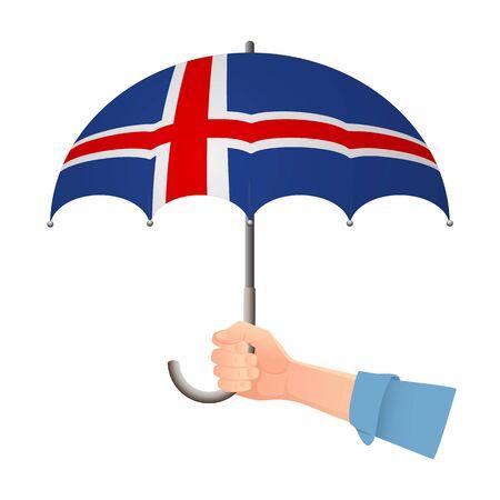 Iceland flag umbrella. Weather symbols. National flag of Iceland vector illustration Illustration