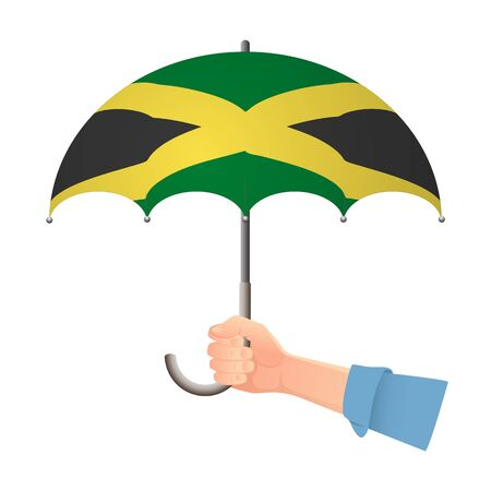 Jamaica flag umbrella. Weather symbols. National flag of Jamaica vector illustration