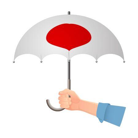 Japan flag umbrella. Weather symbols. National flag of Japan vector illustration