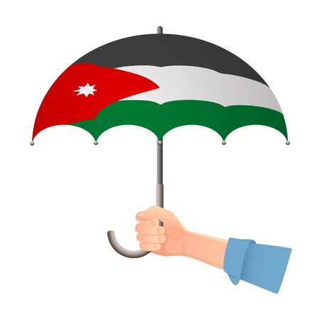 jordan flag umbrella. Weather symbols. National flag of Jordan vector illustration Иллюстрация