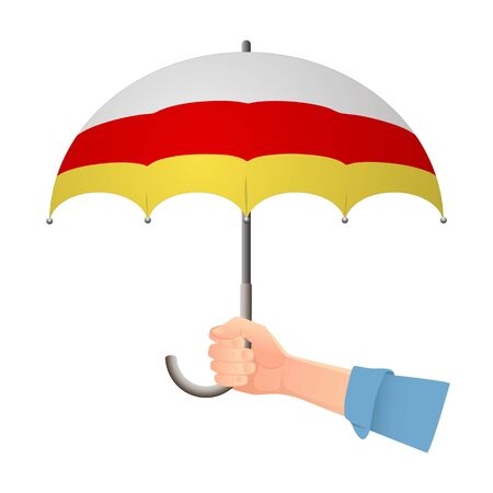 South ossetia flag umbrella. Weather symbols. National flag of South ossetia vector illustration