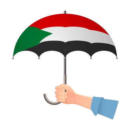 Sudan flag umbrella. Weather symbols. National flag of Sudan vector illustration