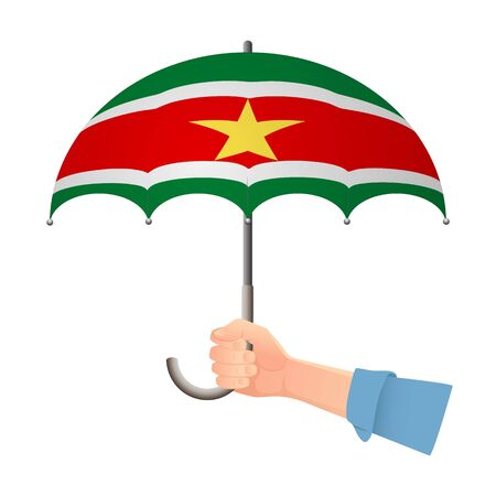 Suriname flag umbrella. Weather symbols. National flag of Suriname vector illustration