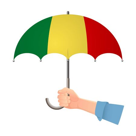 Mali flag umbrella. Weather symbols. National flag of Mali vector illustration