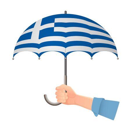 Greece flag umbrella. Weather symbols. National flag of Greece vector illustration Illustration
