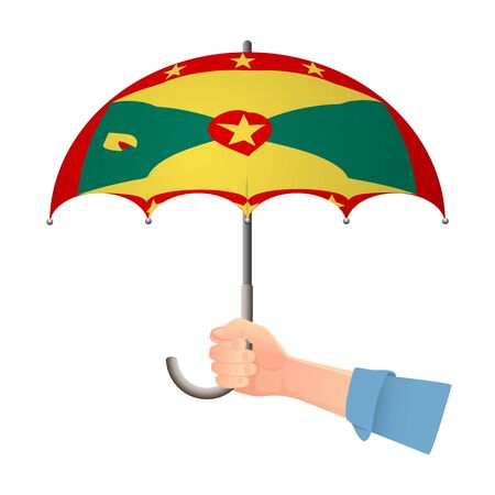 Grenada flag umbrella. Weather symbols. National flag of Grenada vector illustration Иллюстрация