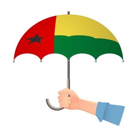 Guinea-Bissau flag umbrella. Weather symbols. National flag of Guinea-Bissau vector illustration Illustration