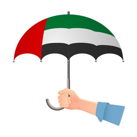 United arab emirates flag umbrella. Weather symbols. National flag of United arab vector illustration