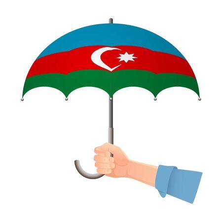 Azerbaijan flag umbrella. Weather symbols. National flag of Azerbaijan vector illustration