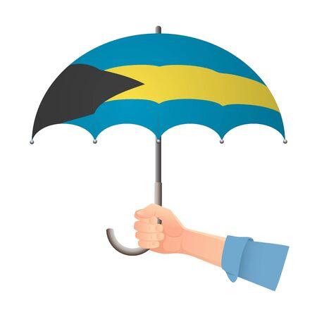 Bahamas flag umbrella. Weather symbols. National flag of Bahamas vector illustration