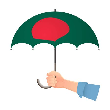 Bangladesh flag umbrella. Weather symbols. National flag of Bangladesh vector illustration  イラスト・ベクター素材