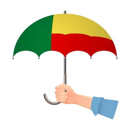 Benin flag umbrella. Weather symbols. National flag of Benin vector illustration
