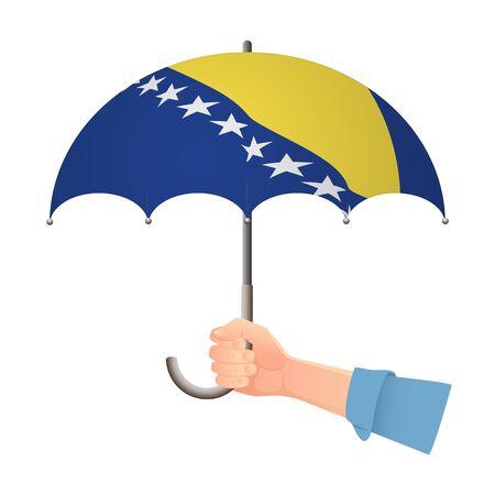 Bosnia and Herzegovina flag umbrella. Weather symbols. National flag of Bosnia and Herzegovina vector illustration Illustration