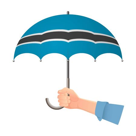 Botswana flag umbrella. Weather symbols. National flag of Botswana vector illustration