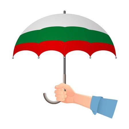 Bulgaria flag umbrella. Weather symbols. National flag of Bulgaria vector illustration