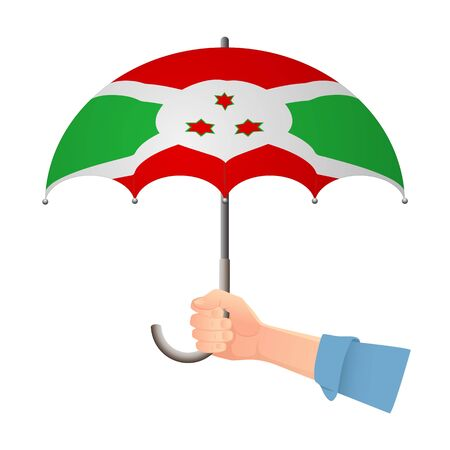 Burundi flag umbrella. Weather symbols. National flag of Burundi vector illustration