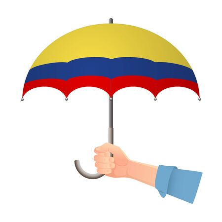 Colombia flag umbrella. Weather symbols. National flag of Colombia vector illustration