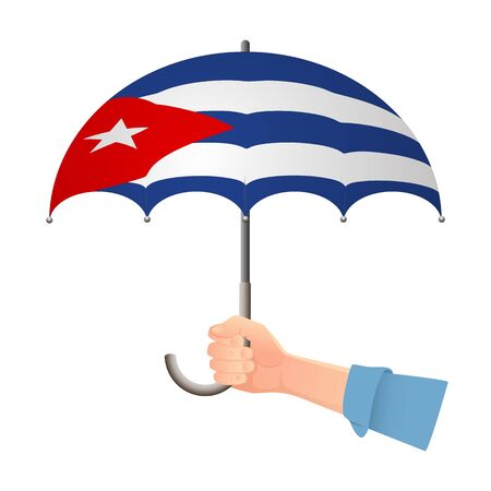 Cuba flag umbrella. Weather symbols. National flag of Cuba vector illustration