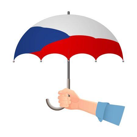 Czech Republic flag umbrella. Weather symbols. National flag of Czech Republic vector illustration