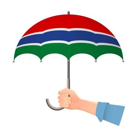 Gambia flag umbrella. Weather symbols. National flag of Gambia vector illustration