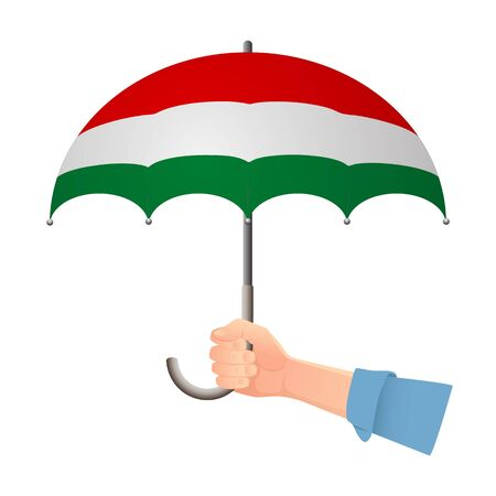 Hungary flag umbrella. Weather symbols. National flag of Hungary vector illustration