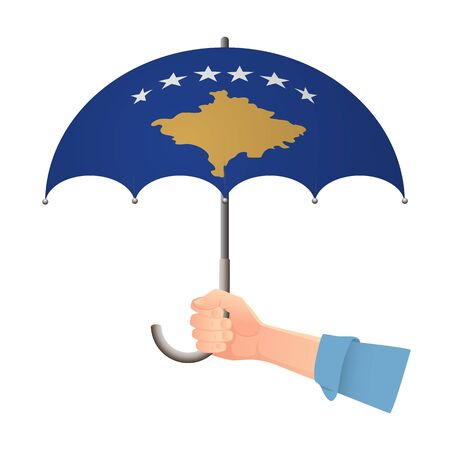 Kosovo flag umbrella. Weather symbols. National flag of Kosovo vector illustration Illustration