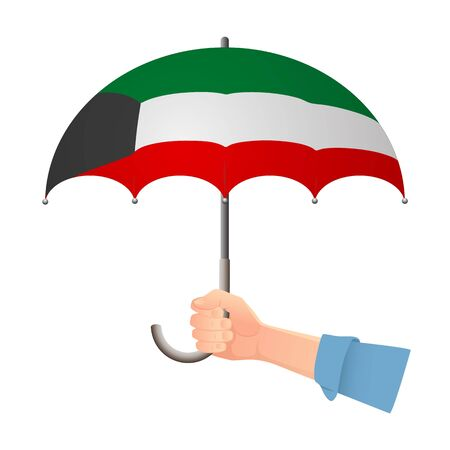 kuwait flag umbrella. Weather symbols. National flag of Kuwait vector illustration
