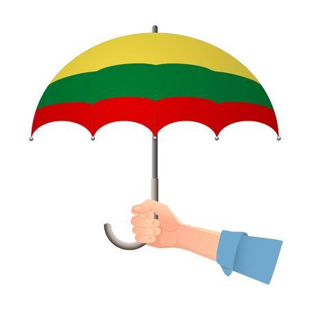 lithuania flag umbrella. Weather symbols. National flag of lithuania vector illustration Иллюстрация