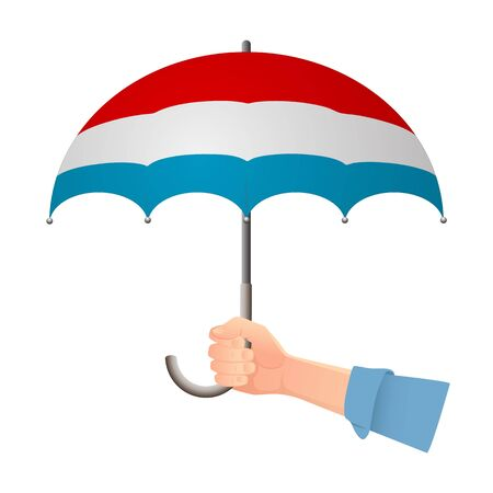 luxembourg flag umbrella. Weather symbols. National flag of luxembourg vector illustration